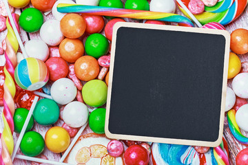 black board for writing greetings on candy and sweets