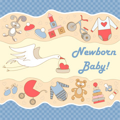 Vector illustration with stork and symbols of newborn