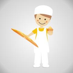 Panadero con pan y magdalena