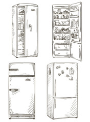 set of four hand drawn fridges. open fridge with healthy food.