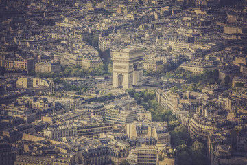 Arch of Triumph vintage aerial view in  Paris