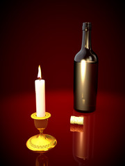 bottle and  candle