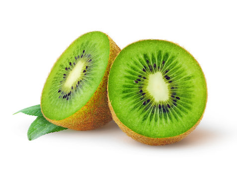 Isolated kiwi. One kiwi fruit cut in halves isolated on white background with clipping path