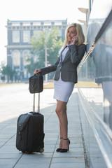 Businesswoman suitcase