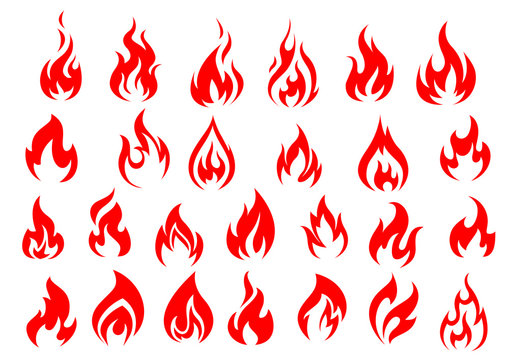 Red fire icons and pictograms set