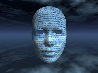 surreal face with text