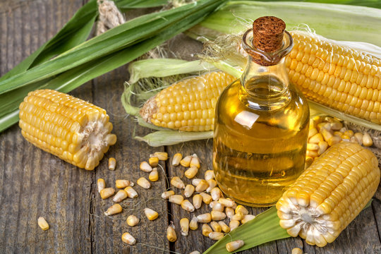 Freshly picked domestic corn with corn oil