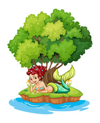 A mermaid in the island