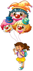 A happy girl holding clown balloons