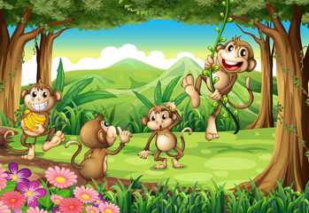 Monkeys playing