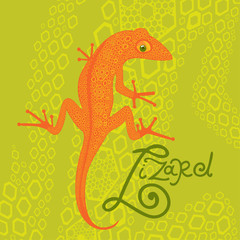 lizard on a background of decorative flakes