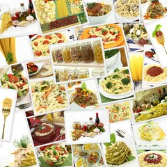 Collage with various pasta dishes