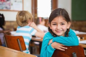 Smiling pupil sitting at her desk