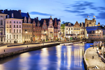Fotomurales - Korenlei embankment in Ghent, Belgium