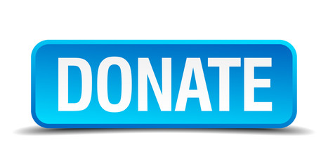 donate blue 3d realistic square isolated button