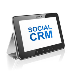 tablet computer with text social  customer relationship manageme