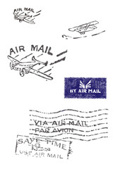 Several stamps of old air mail (Orignal - no scans - hand drawn)