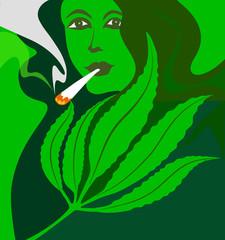 womam smoking marijuana