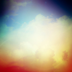 Sky and clouds with smooth and blurry colorful background