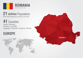 Wall Mural - Romania world map with a pixel diamond texture.