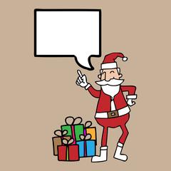Santa and gift boxe speech bubble