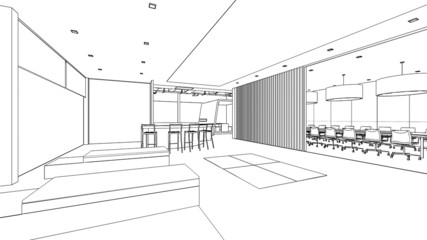 outline sketch of a interior pantry area