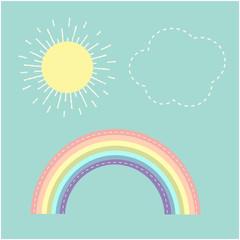 Rainbow, sun, cloud. Dash line. Love card. Flat design.