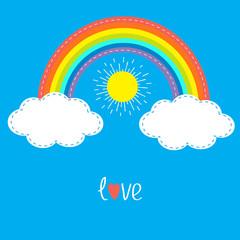 Rainbow, clouds and sun. Dash line. Love card. Flat design.