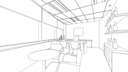 outline sketch of a interior office