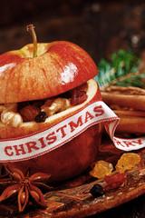 Macro Christmas Apple with Elements Inside