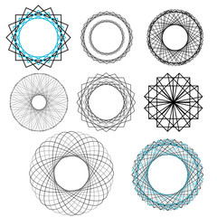 A set of concentric circle geometric  patterns