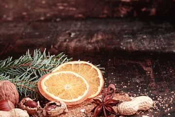 Sliced Christmas Orange on Wooden Table