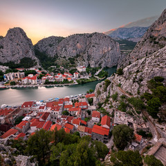 Fotomurales - Aerial View on Omis Old Town and Cetina River Gorge, Dalmatia, C