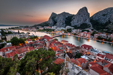 Fototapete - Aerial View on Omis and Cetina River Gorge in the Evening, Dalma