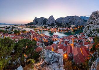 Fotomurales - Aerial Panorama of Omis and Cetina River Gorge in the Evening, D