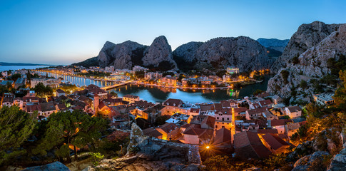 Wall Mural - Aerial Panorama of Omis and Cetina River Gorge in the Evening, D