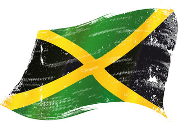 waving jamaican grunge flag