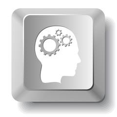 Human brain. Vector computer key.