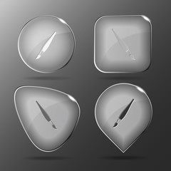 Brush. Glass buttons. Vector illustration.