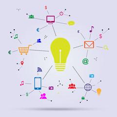 Lightbulb sorrounded by social media icons