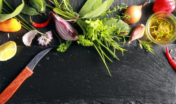 Food Ingredients Beside Black Chopping Board.