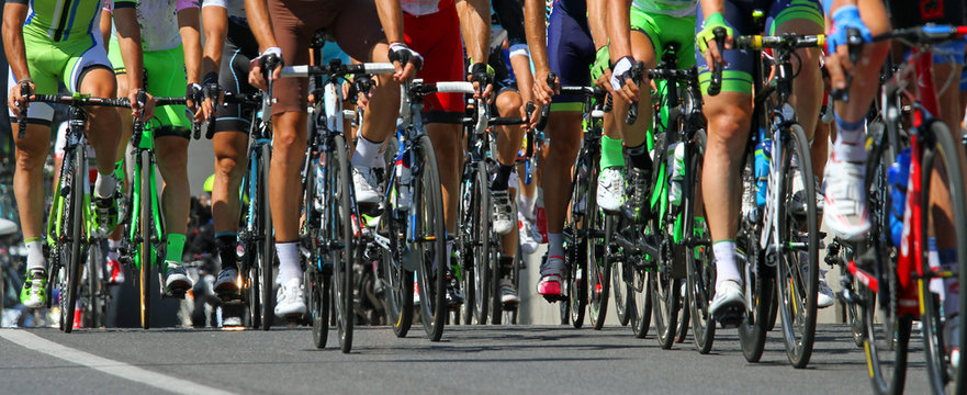cyclists ride  during the international race