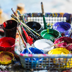 Artistic equipment ; paint, brushes , palette and knives