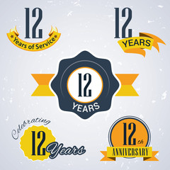 Retro vector stamp celebrating, 12 years of service,Anniversary