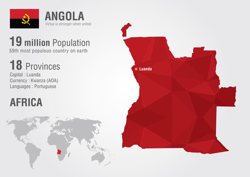 Angola world map with a pixel diamond texture.