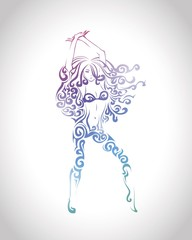 Dancing girl. Vector illustration.
