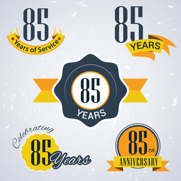 Retro vector stamp celebrating, 85 years of service,Anniversary