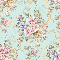 Fotorolgordijn Vintage Bloemen flowers seamless pattern background - For easy making seamless p