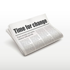 time for change words on newspaper