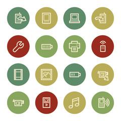 Mobile content web icons, vintage color